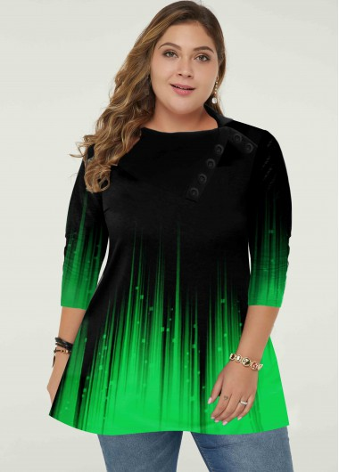 Green Plus Size Gradient Long Sleeve Tunic Top