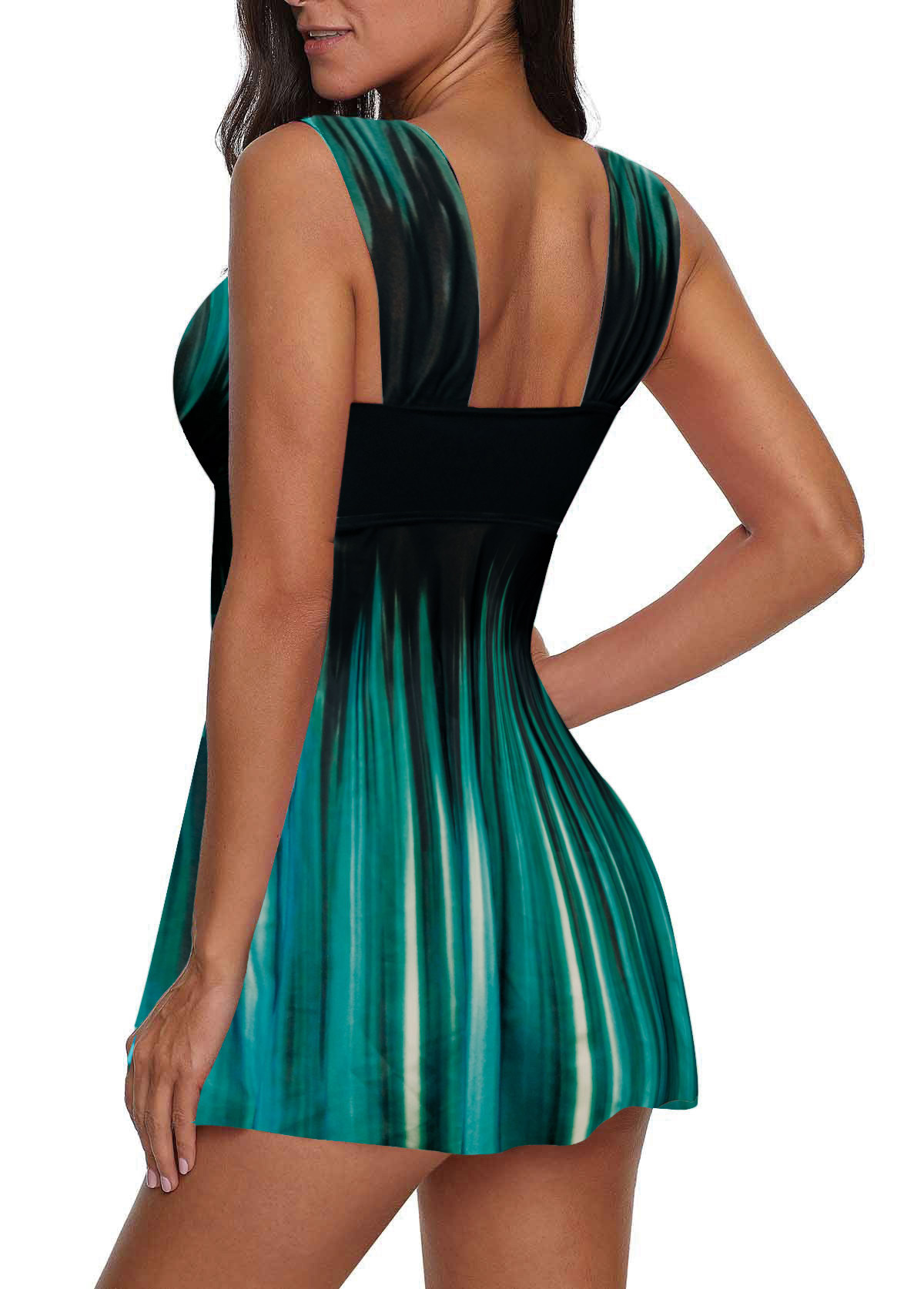 Open Back Ombre Print Swimdress and Shorts