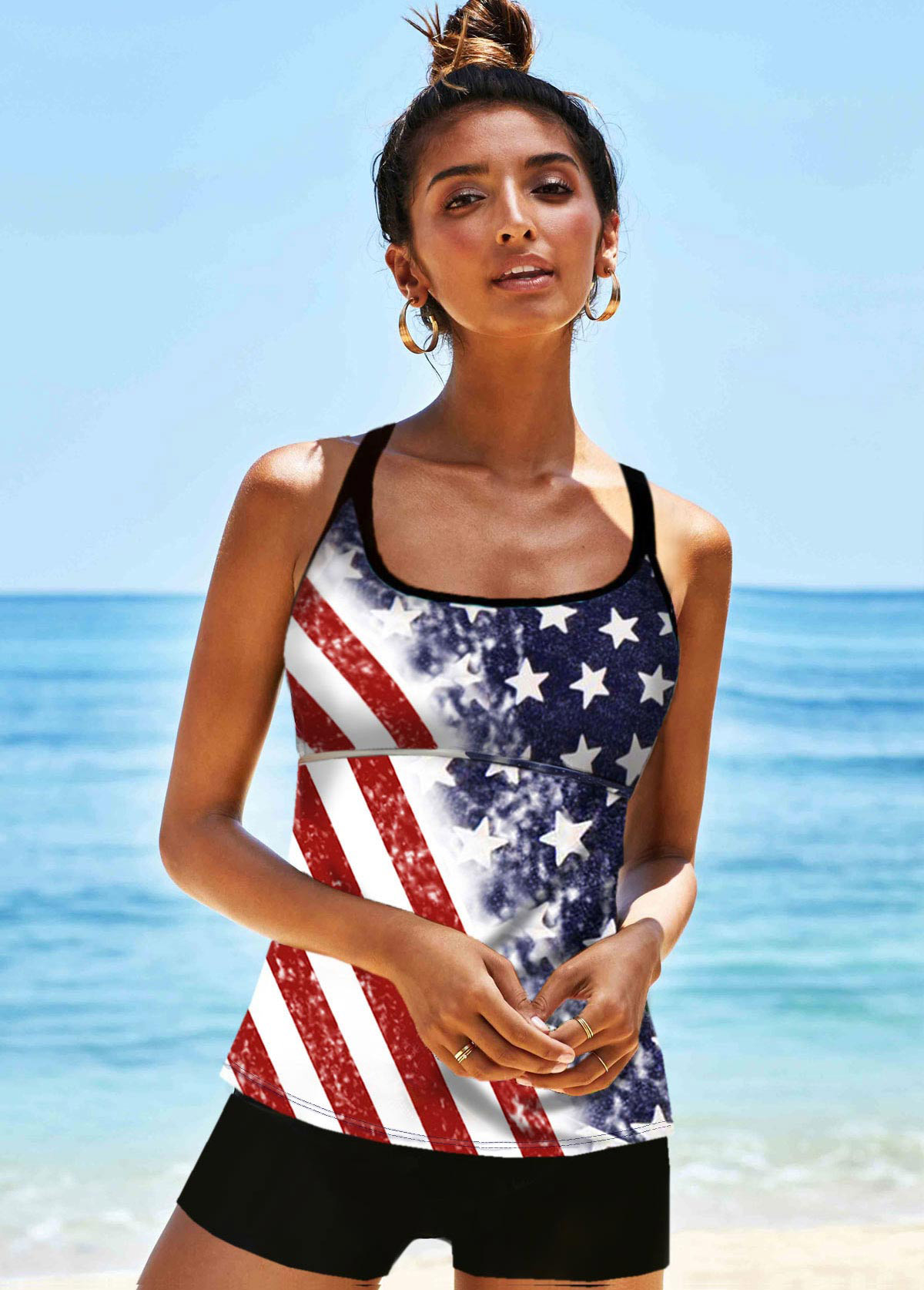 Cross Strap American Flag Print Multi Color Tankini Set