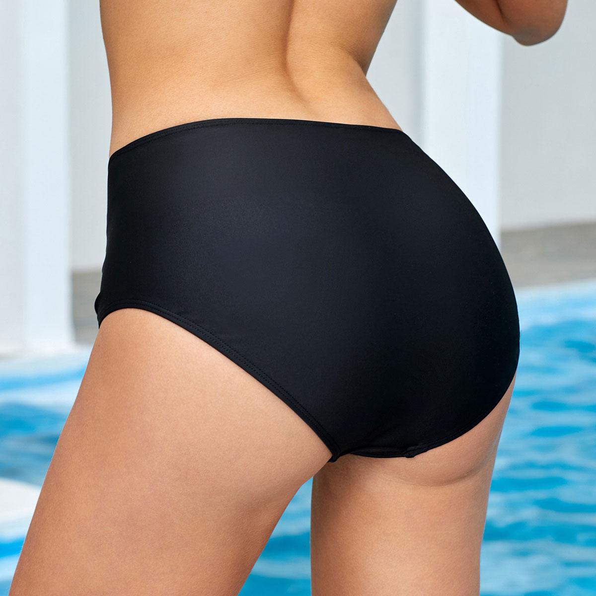 Ruched Mid Waist Black Swimwear Panty