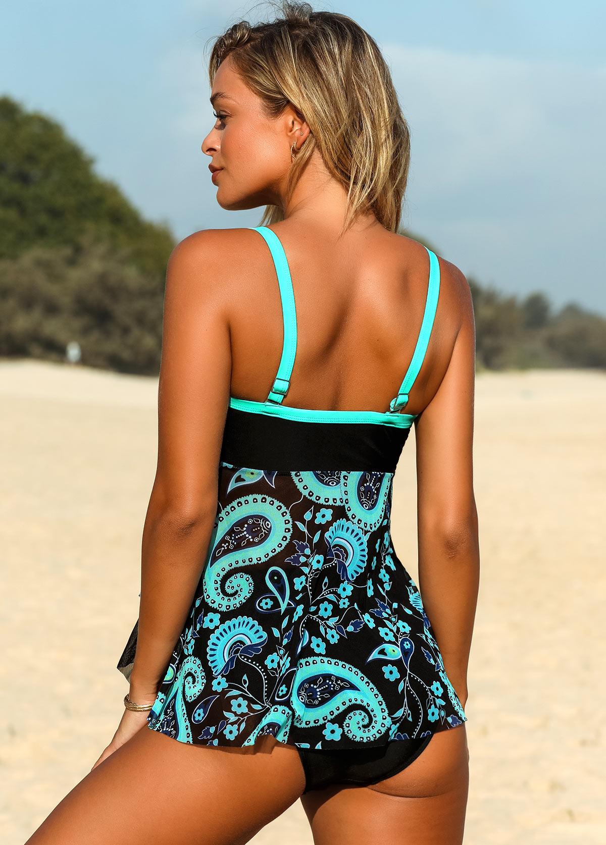 Contrast Piping Paisley Print Asymmetric Hem Swimwear Top