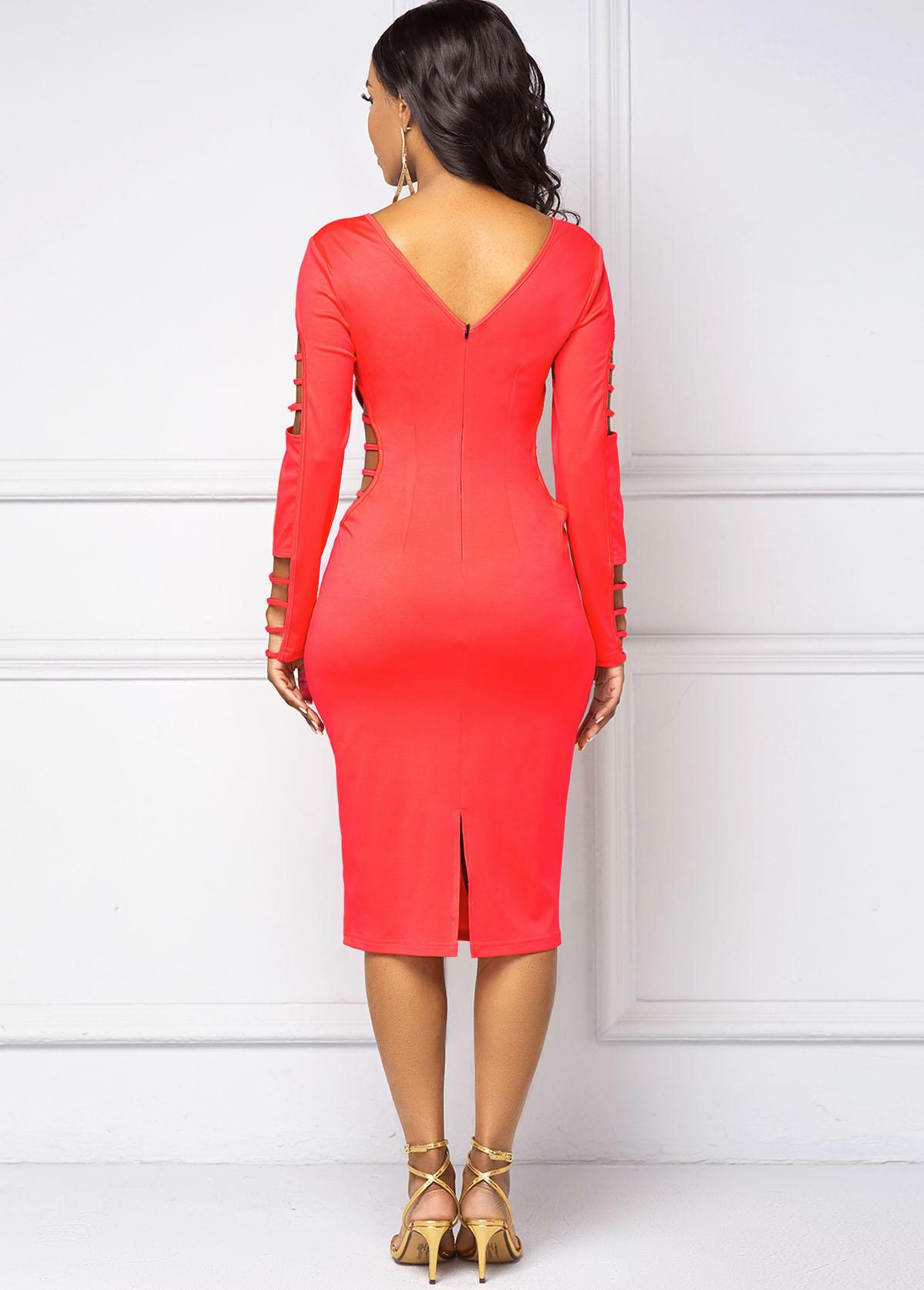Long Sleeve V Back Ladder Cutout Dress