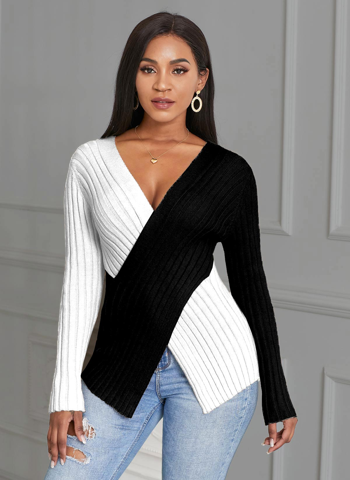Color Block Cross Front Asymmetric Hem Sweater