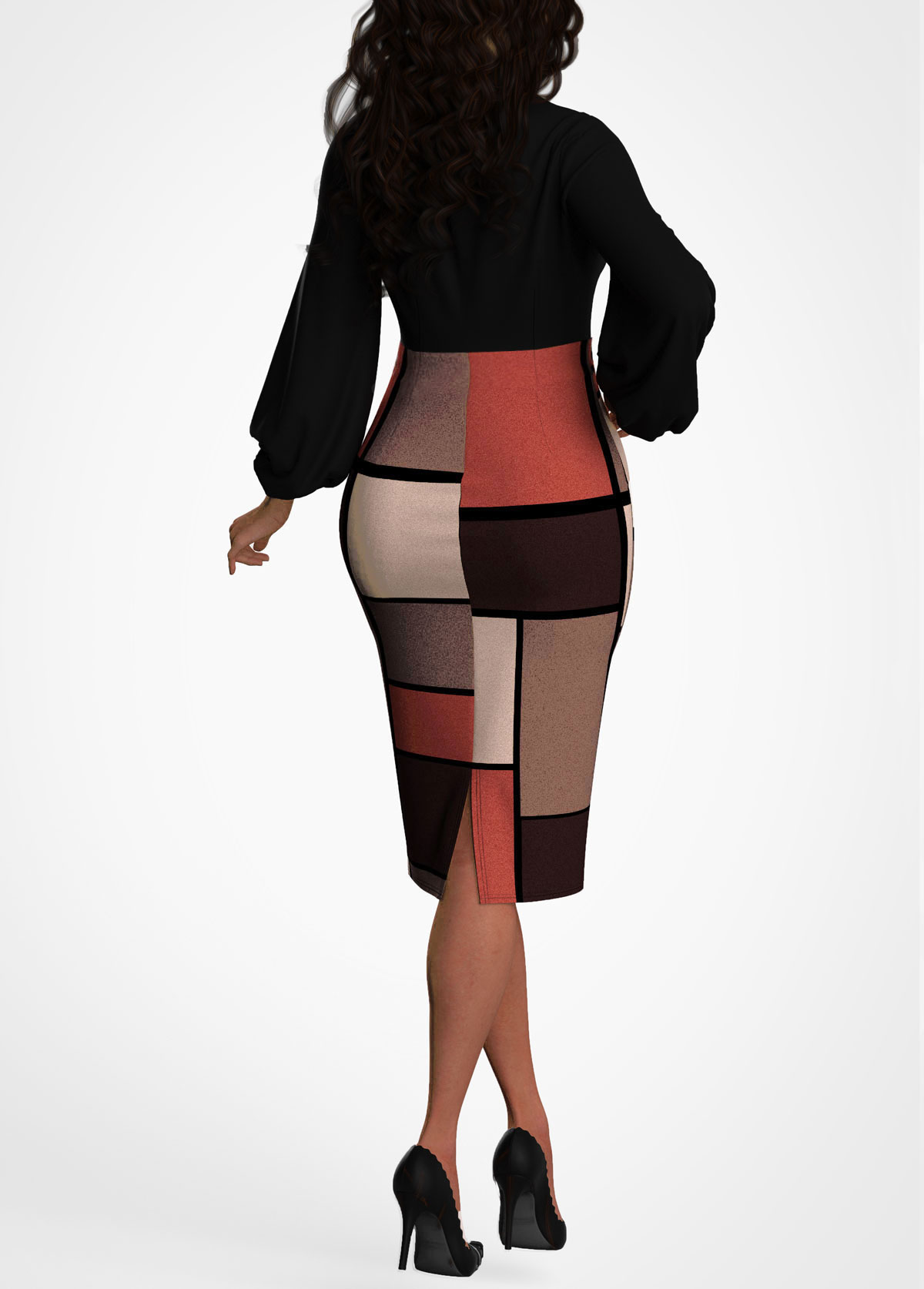 Keyhole Neckline Geometric Print Lantern Sleeve Dress