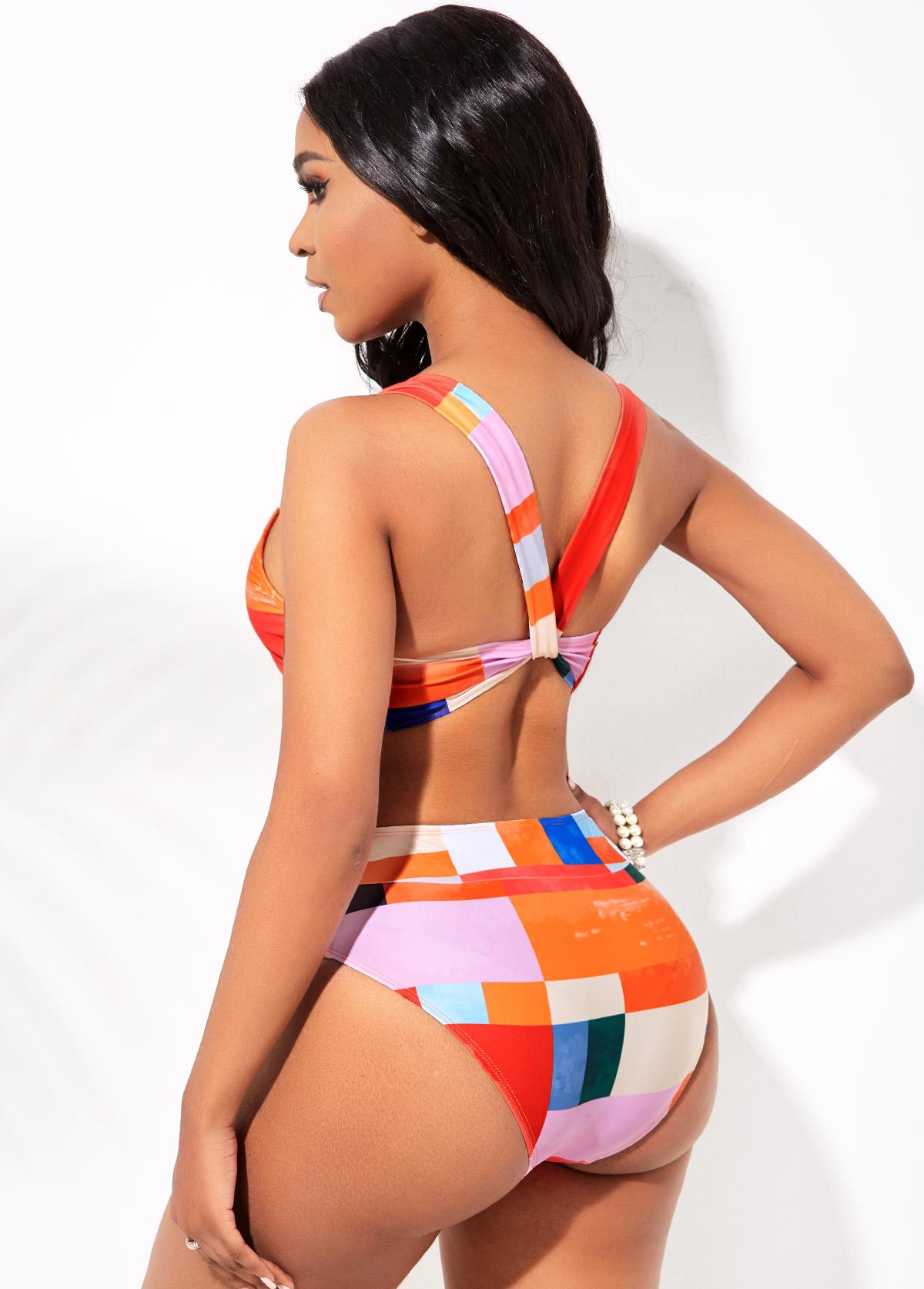 Wide Strap Geometric Print Mid Waist Bikini Set