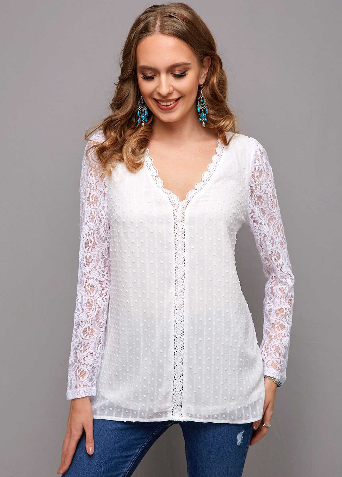 Long Sleeve Lace Stitching V Neck Blouse