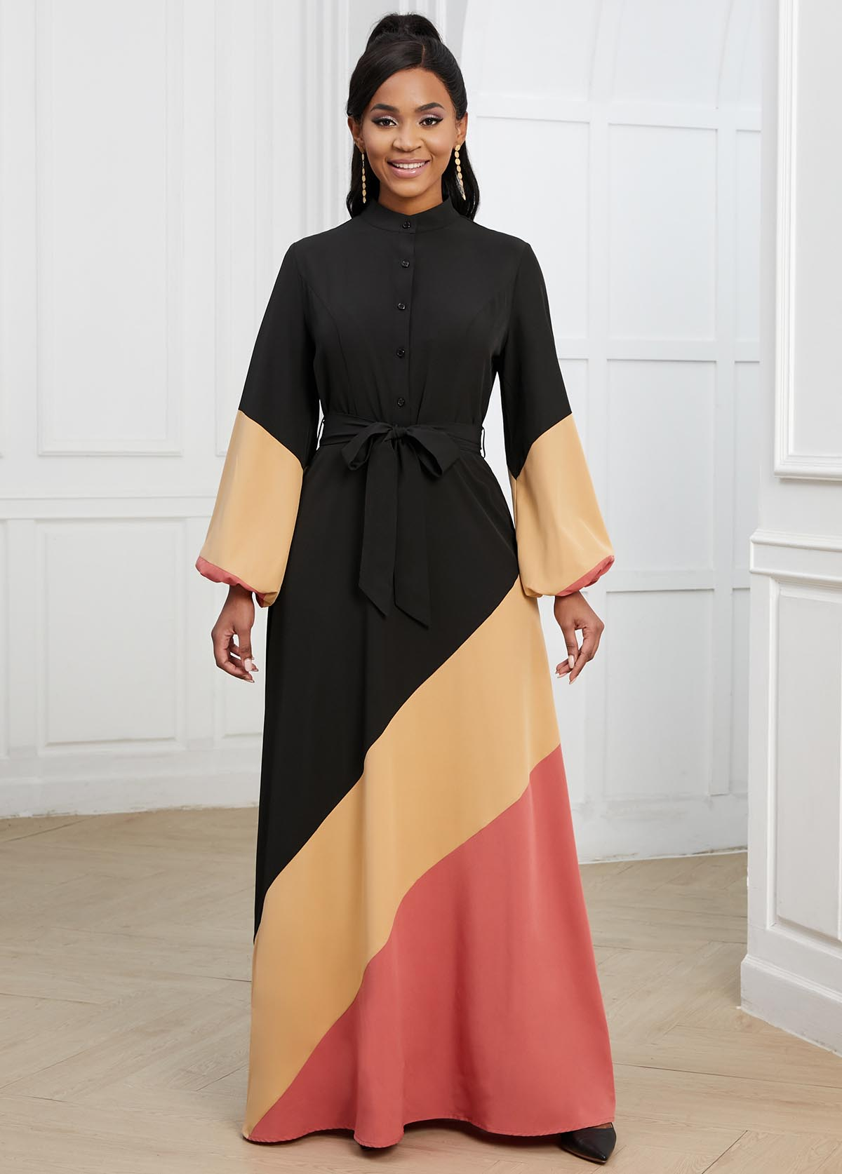 Lantern Sleeve Belted Button Detail Contrast Dress