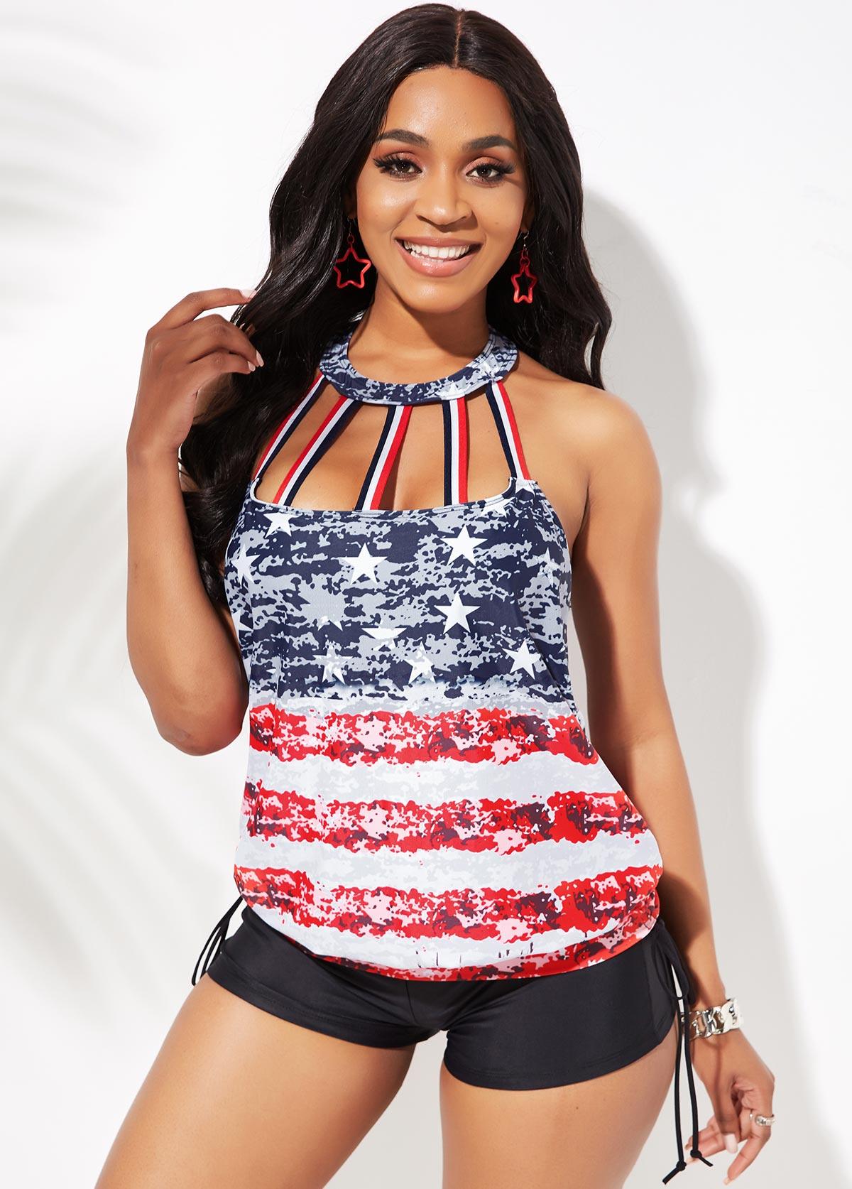 Cage Neck Tie Side American Flag Print Tankini Set