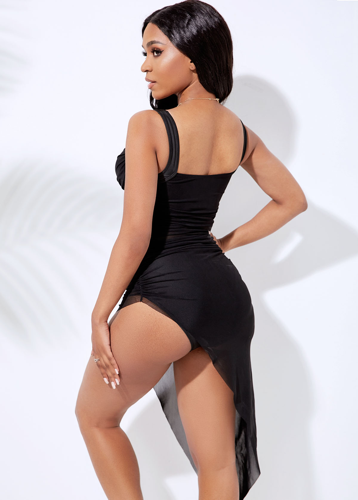 Ruched Asymmetric Hem Mesh Swimdress and Panty