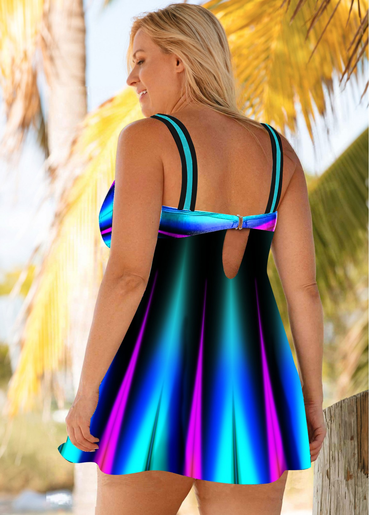 Colorful Printed Plus Size Swimdress and Panty