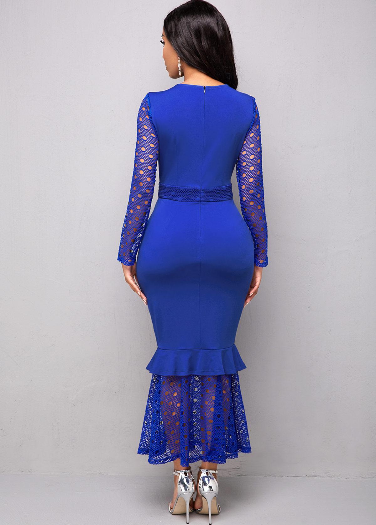 Long Sleeve Lace Stitching Round Neck Mermaid Dress