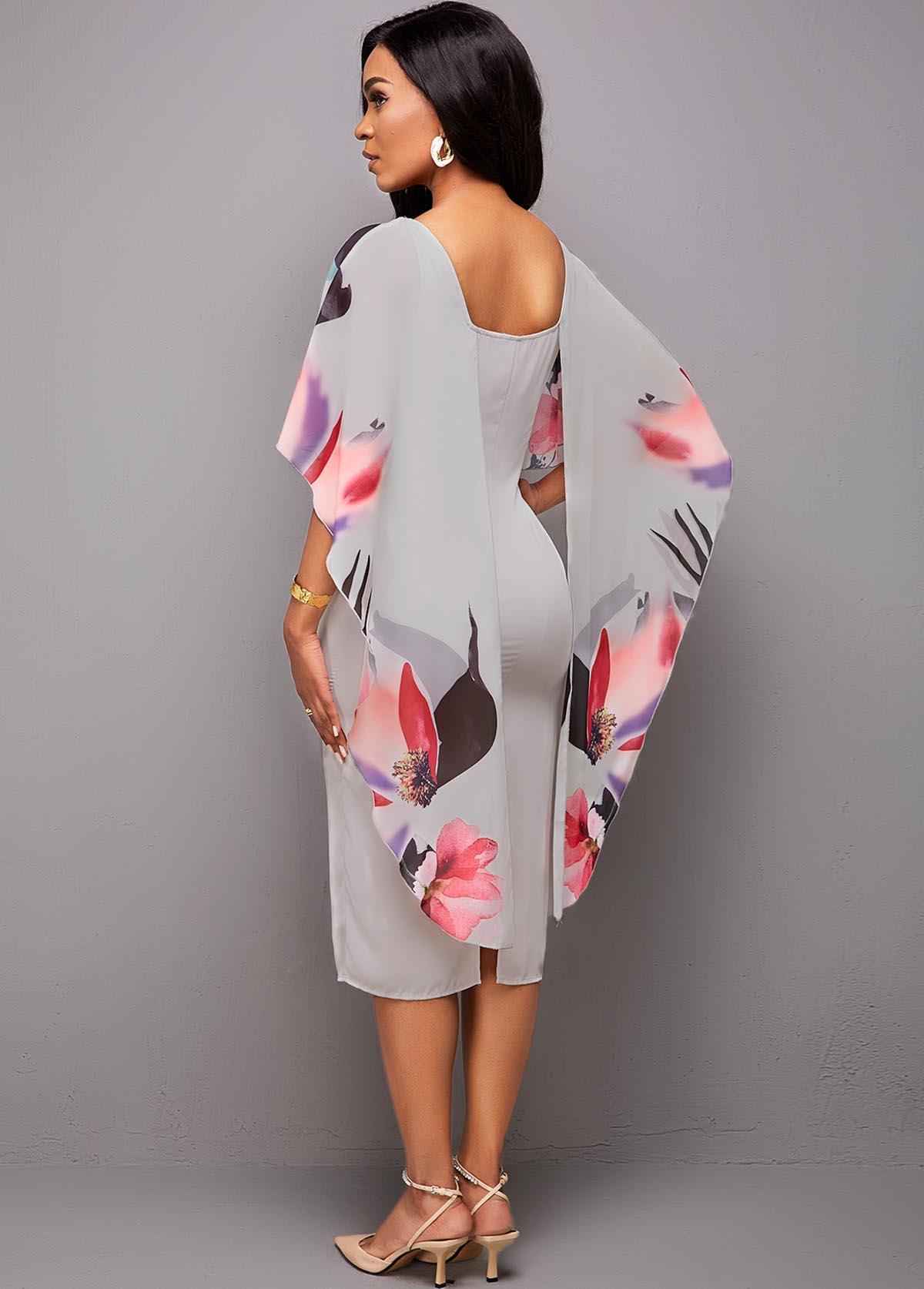 Floral Print 3/4 Sleeve Bodycon Dress