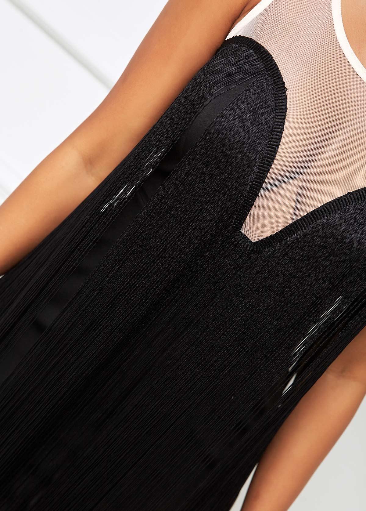 Sleeveless Tassel Mesh Stitching Bodycon Dress