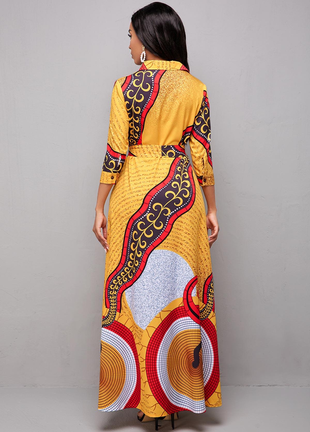Belted Tribal Print Turndown Collar Dress
