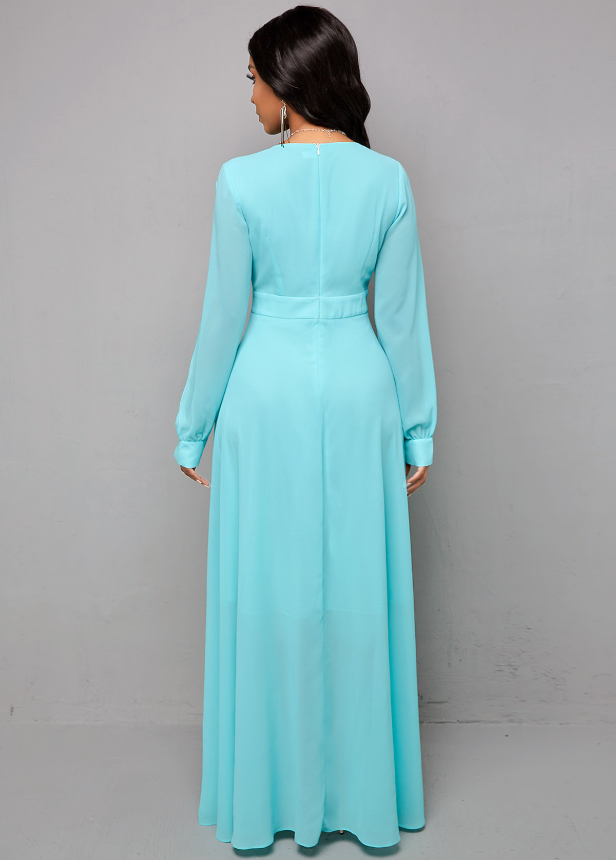 Cutout Sleeve V Neck Maxi Dress