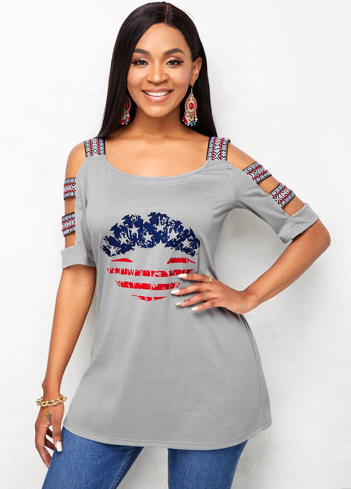 American Flag Print Ladder Cutout Sleeve T Shirt