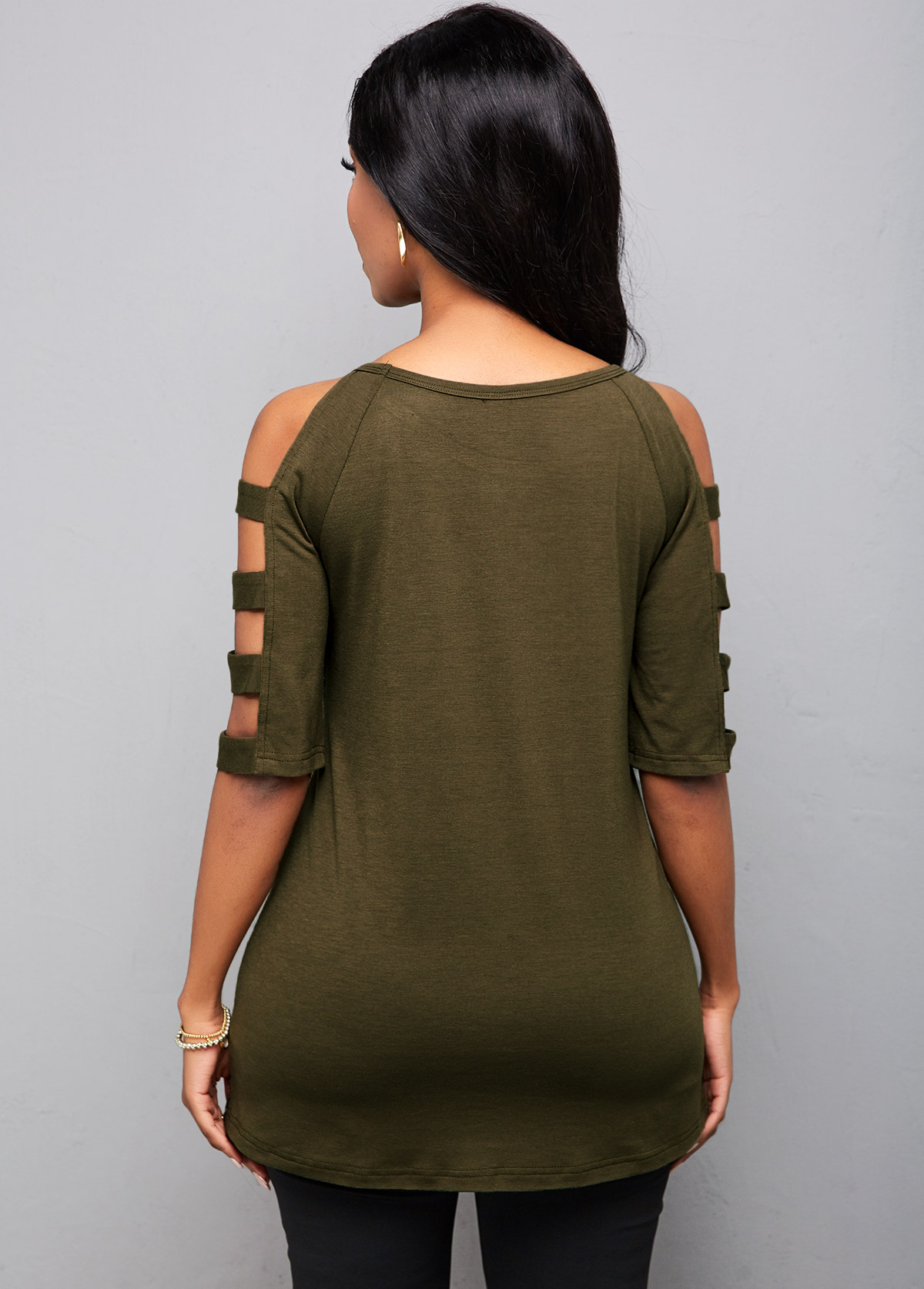 Sequin Camouflage Ladder Cutout Sleeve T Shirt