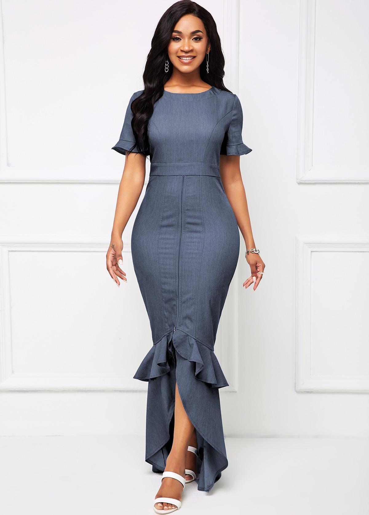 Short Sleeve Flounce Round Neck Mermaid Dress