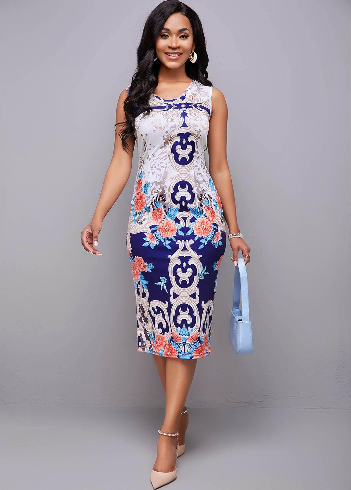 Round Neck Tribal Print Sleeveless Dress