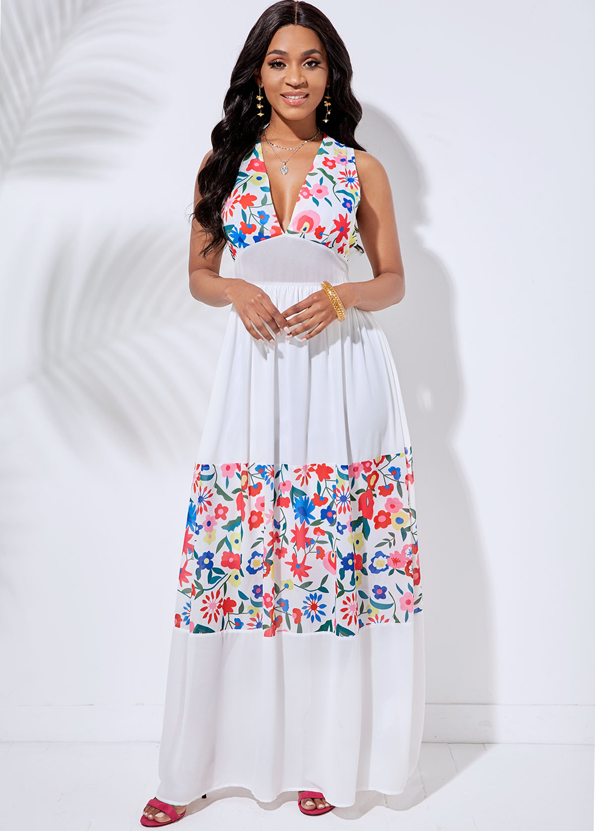 Cutout Back V Neck Floral Print Dress