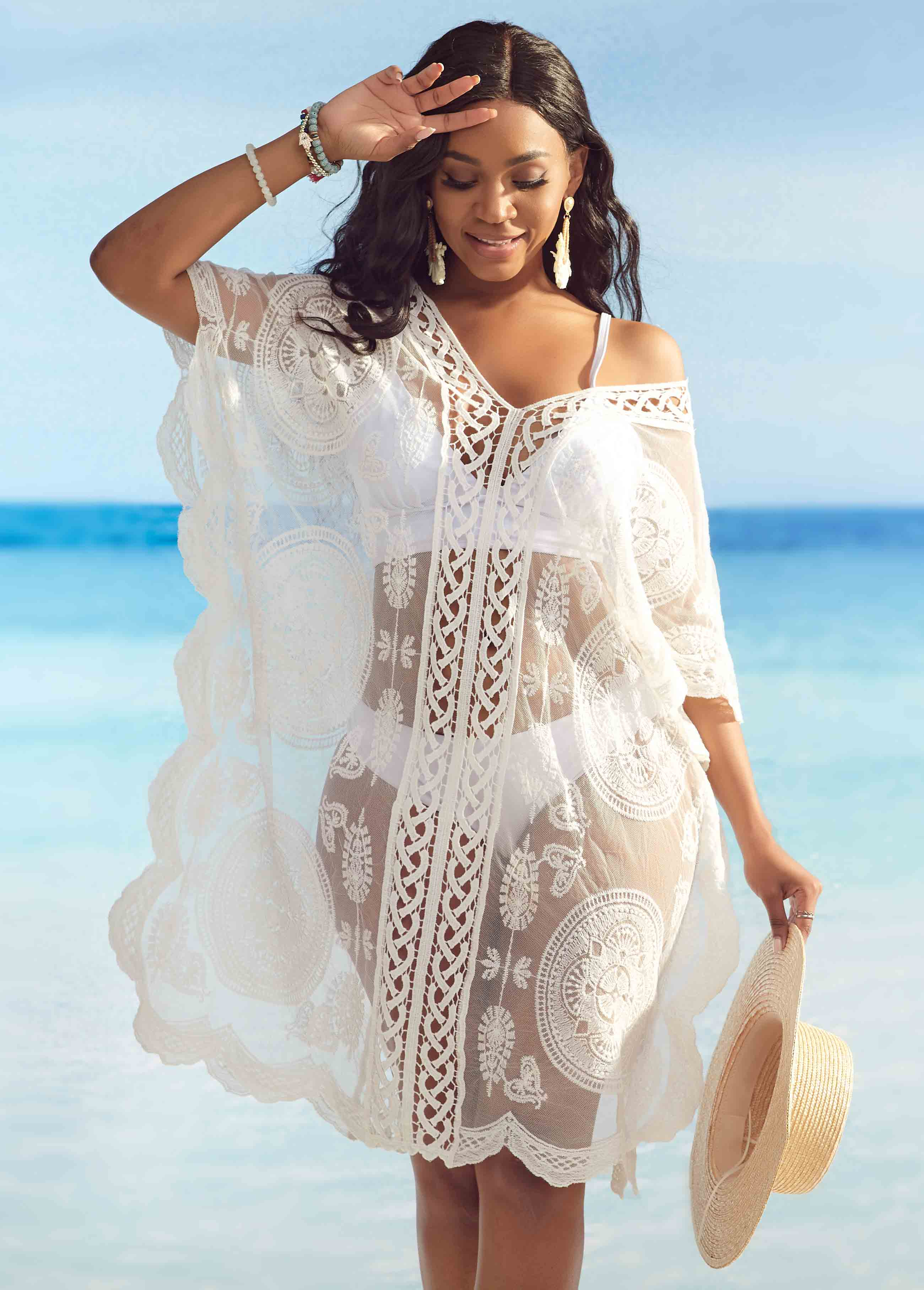 V Neck Lace Trim White Cover Up