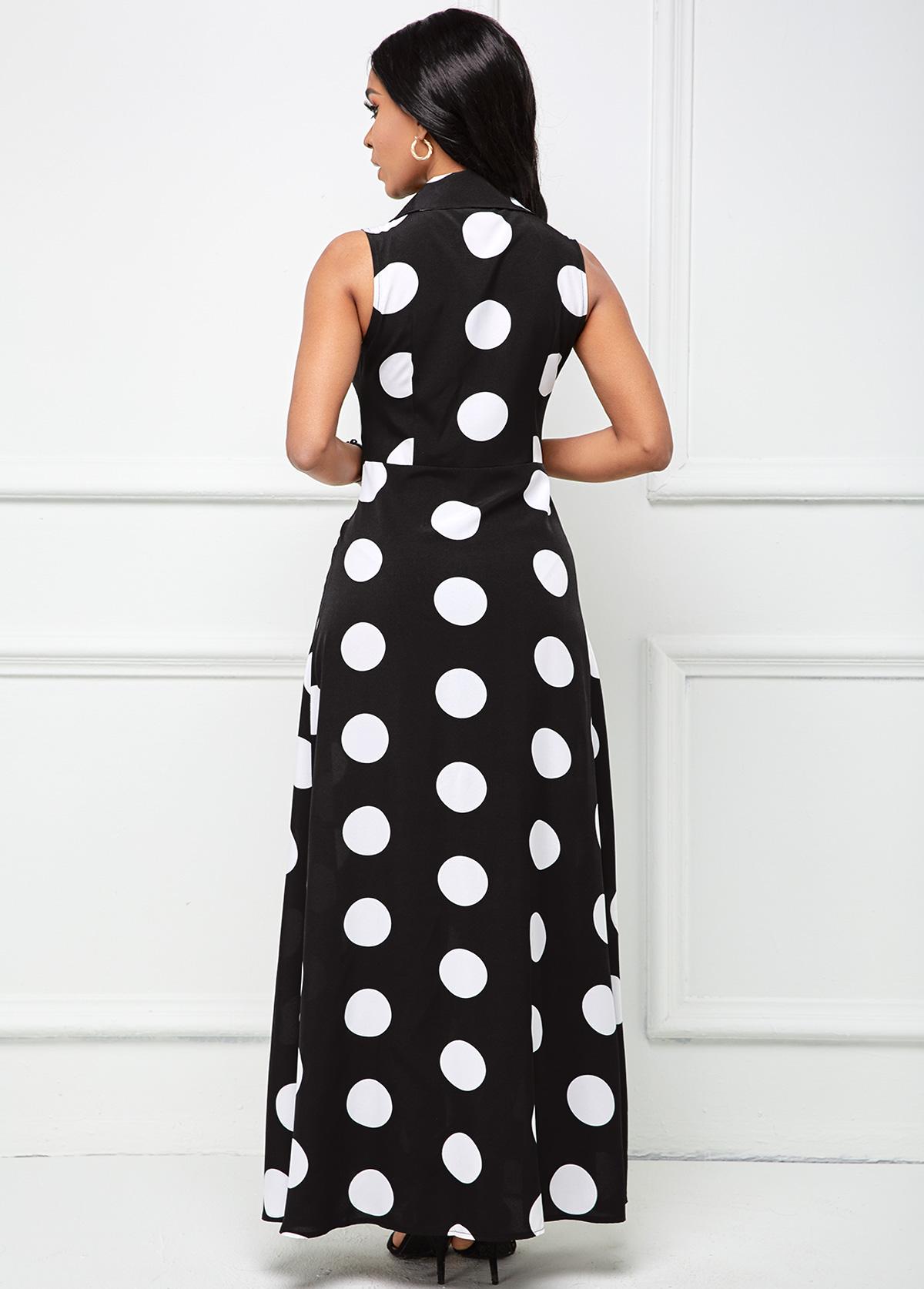 Pocket Polka Dot Button Up Shirt Dress