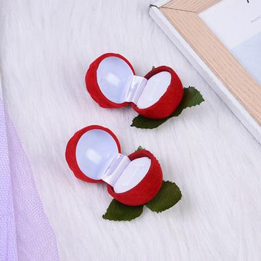 2.0 X 2.0 X 2.0 Inch Rose Design Flocking Red Ring Box