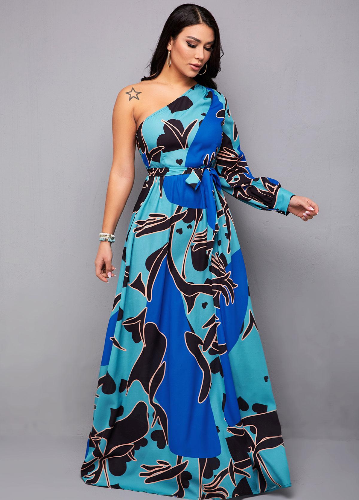 Belted Skew Neck One Shoulder Blue Maxi Dress