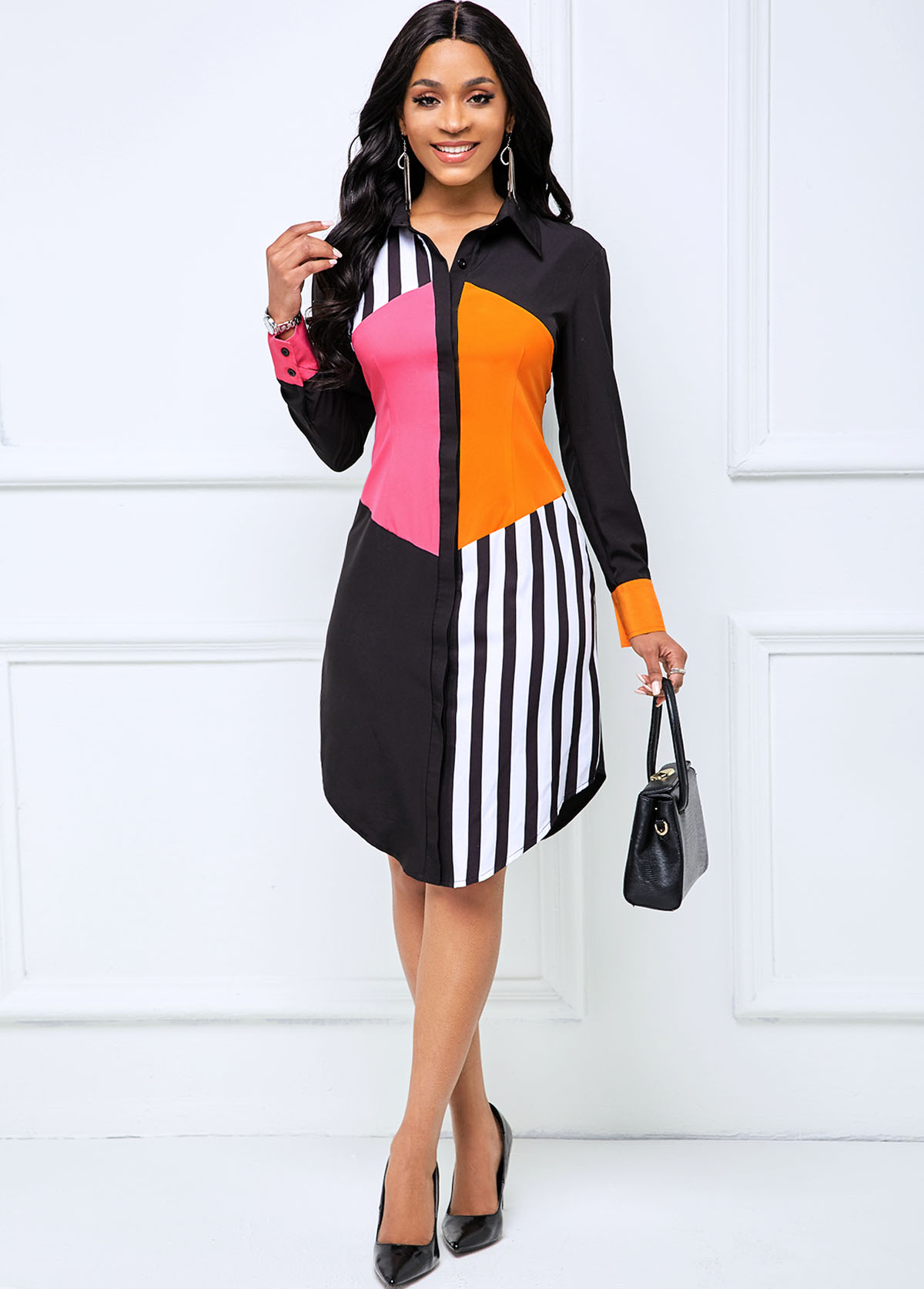 Button Up Contrast Long Sleeve Striped Dress