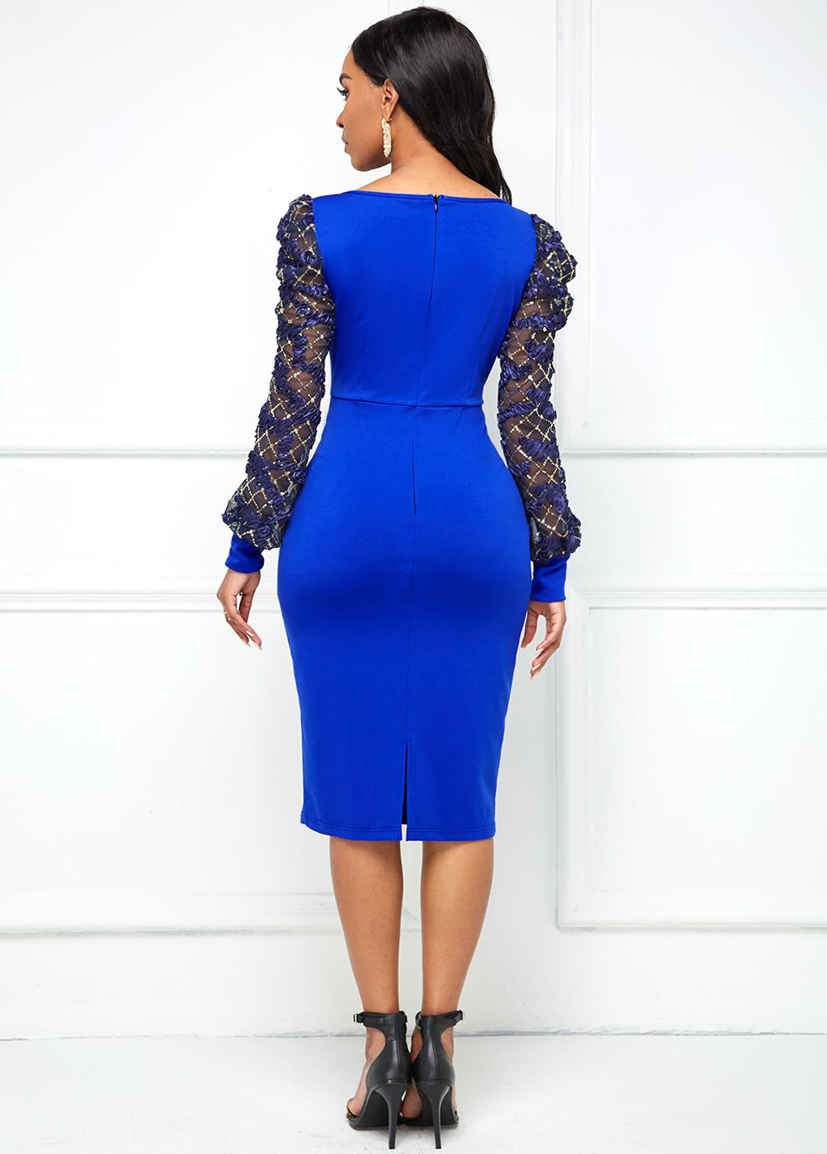 Lace Stitching V Neck Puff Sleeve Dress