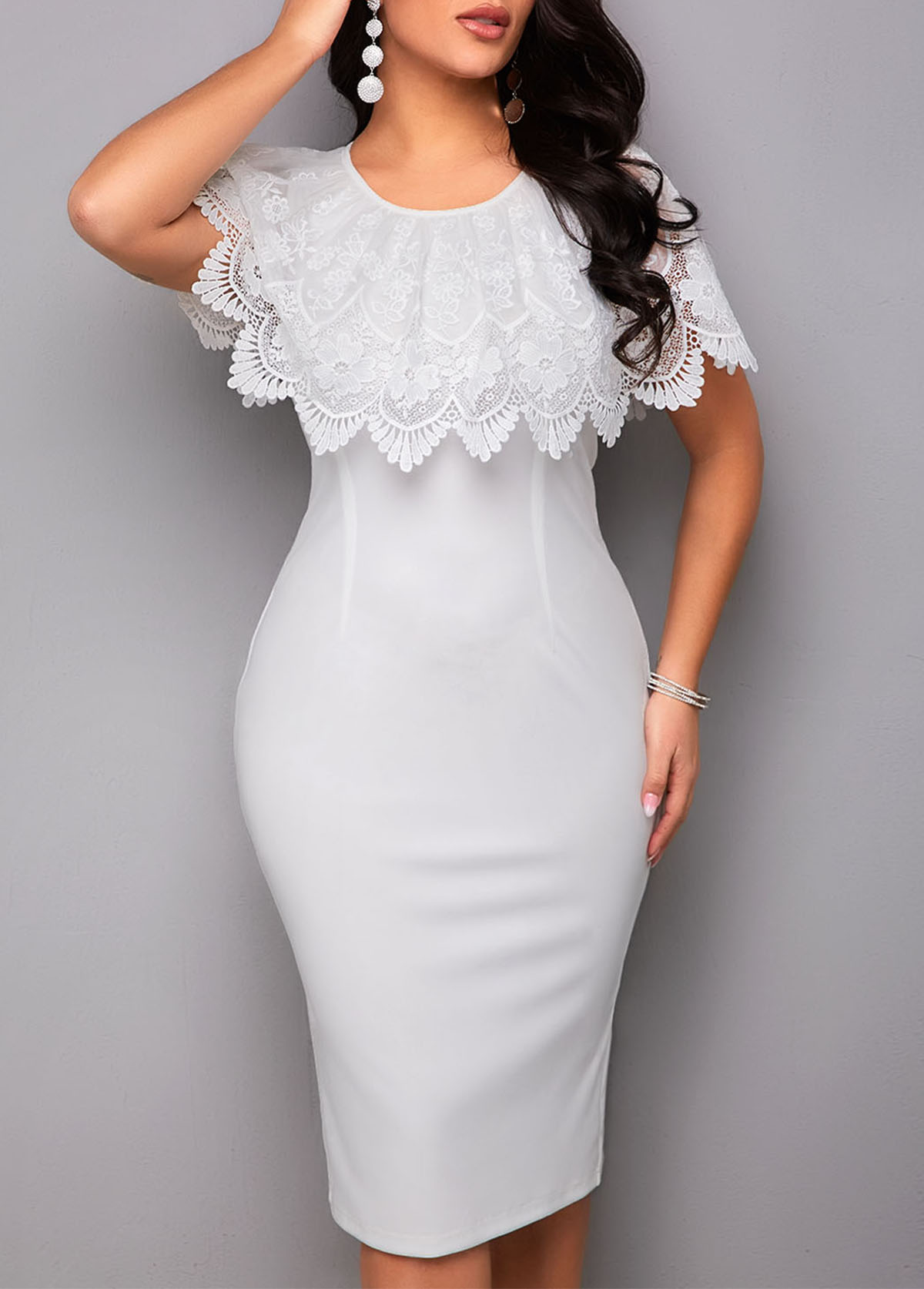 White Lace Stitching Round Neck Bodycon Dress