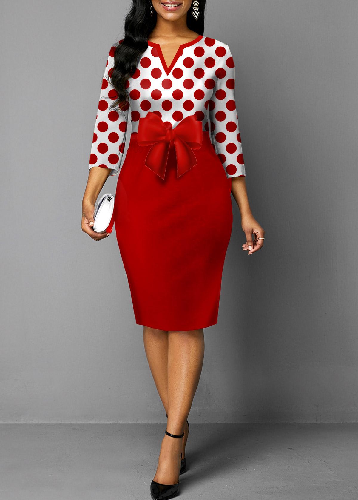 Bowknot Red Polka Dot Split Neck Dress