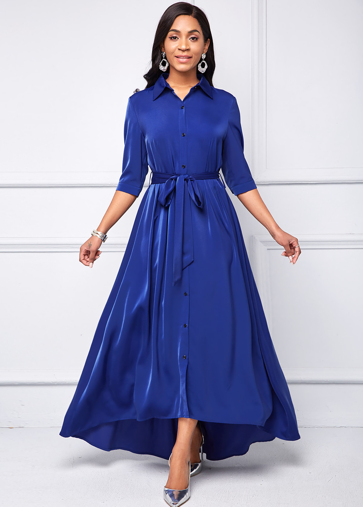 Button Up Turndown Collar Belted High Low Dress