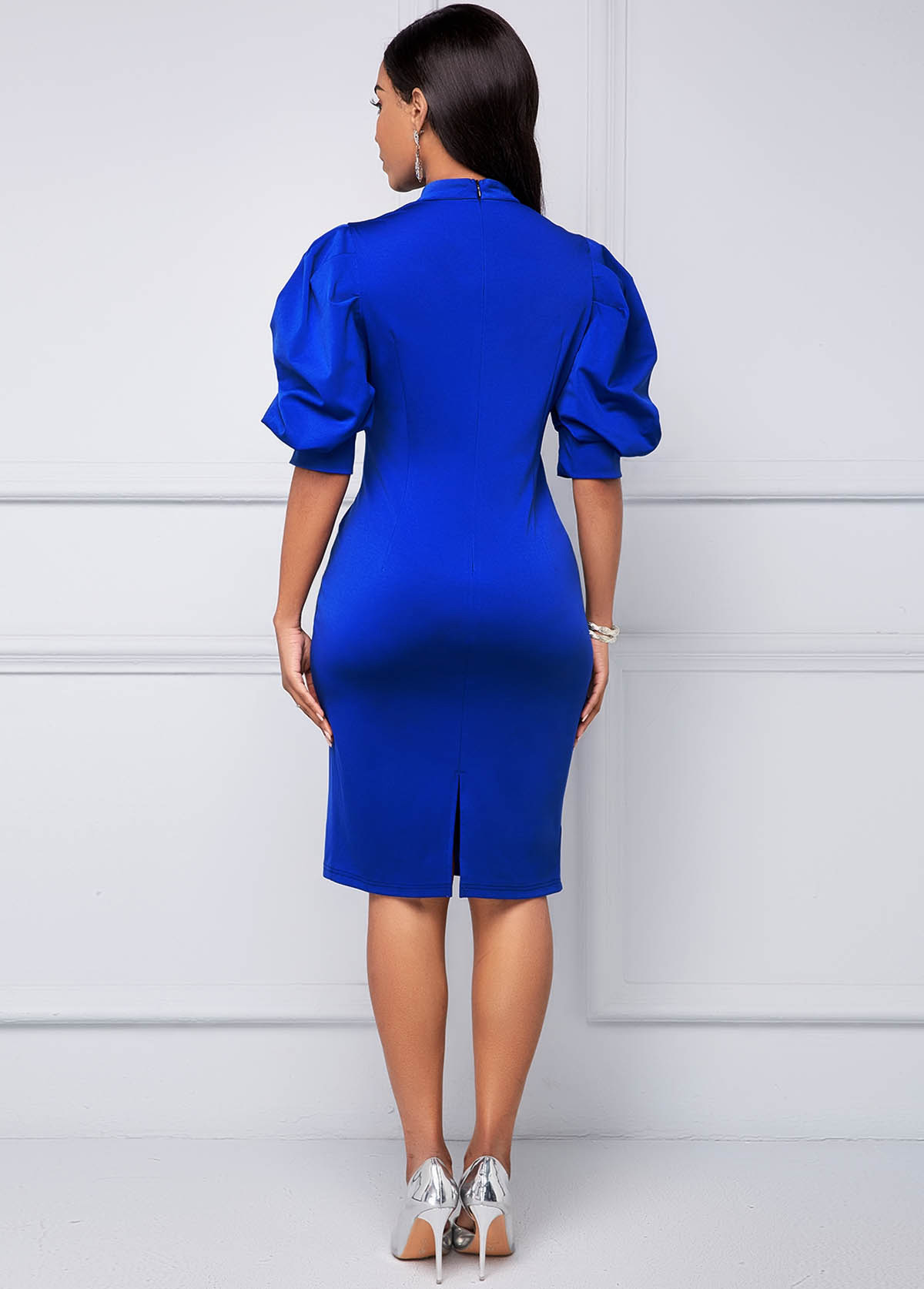 Puff Sleeve Bowknot Detail Bodycon Dress