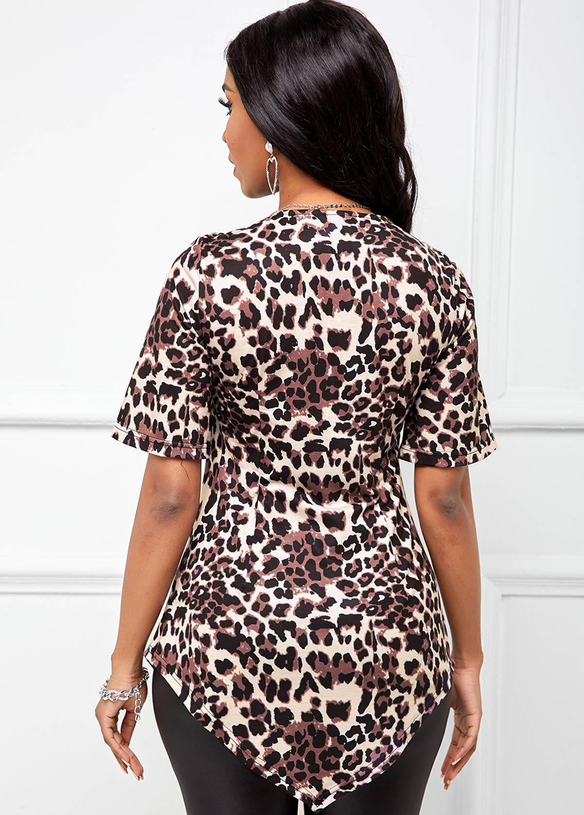 Leopard Twist Front Asymmetric Hem T Shirt