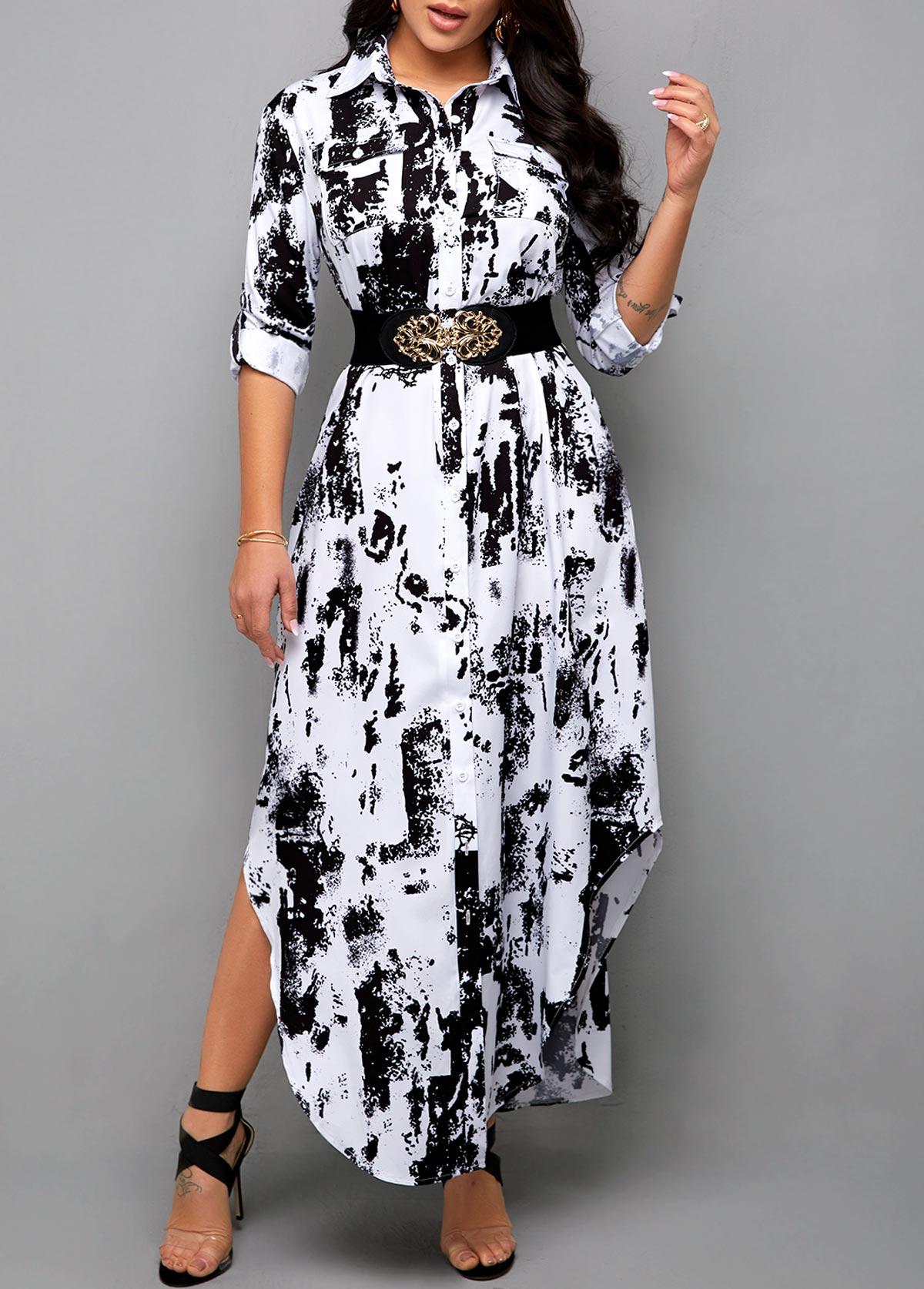 Asymmetric Hem Tie Dye Print Shirt Dress
