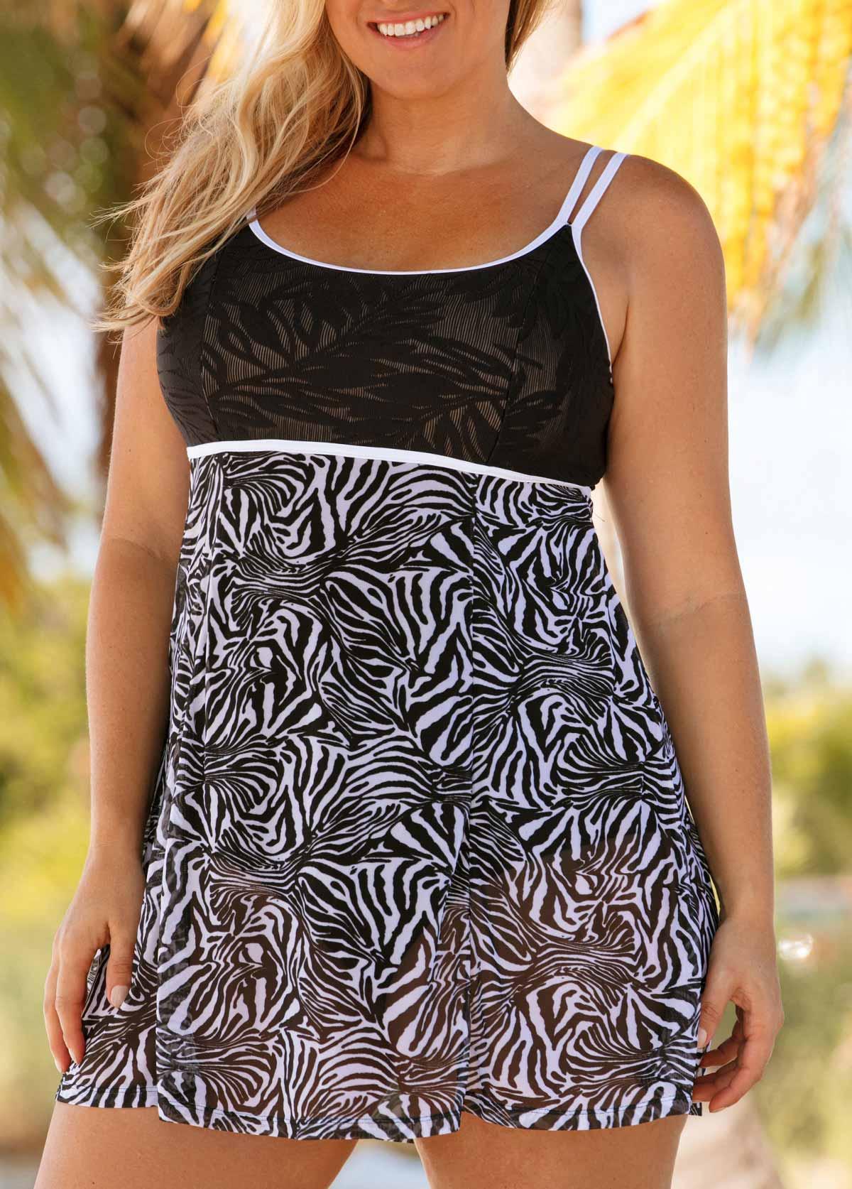 Mesh Stitching Zebra Print Plus Size Swimdress and Panty