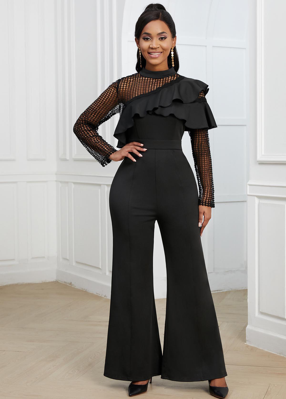 Long Sleeve Flounce Lace Stitching Black Jumpsuit