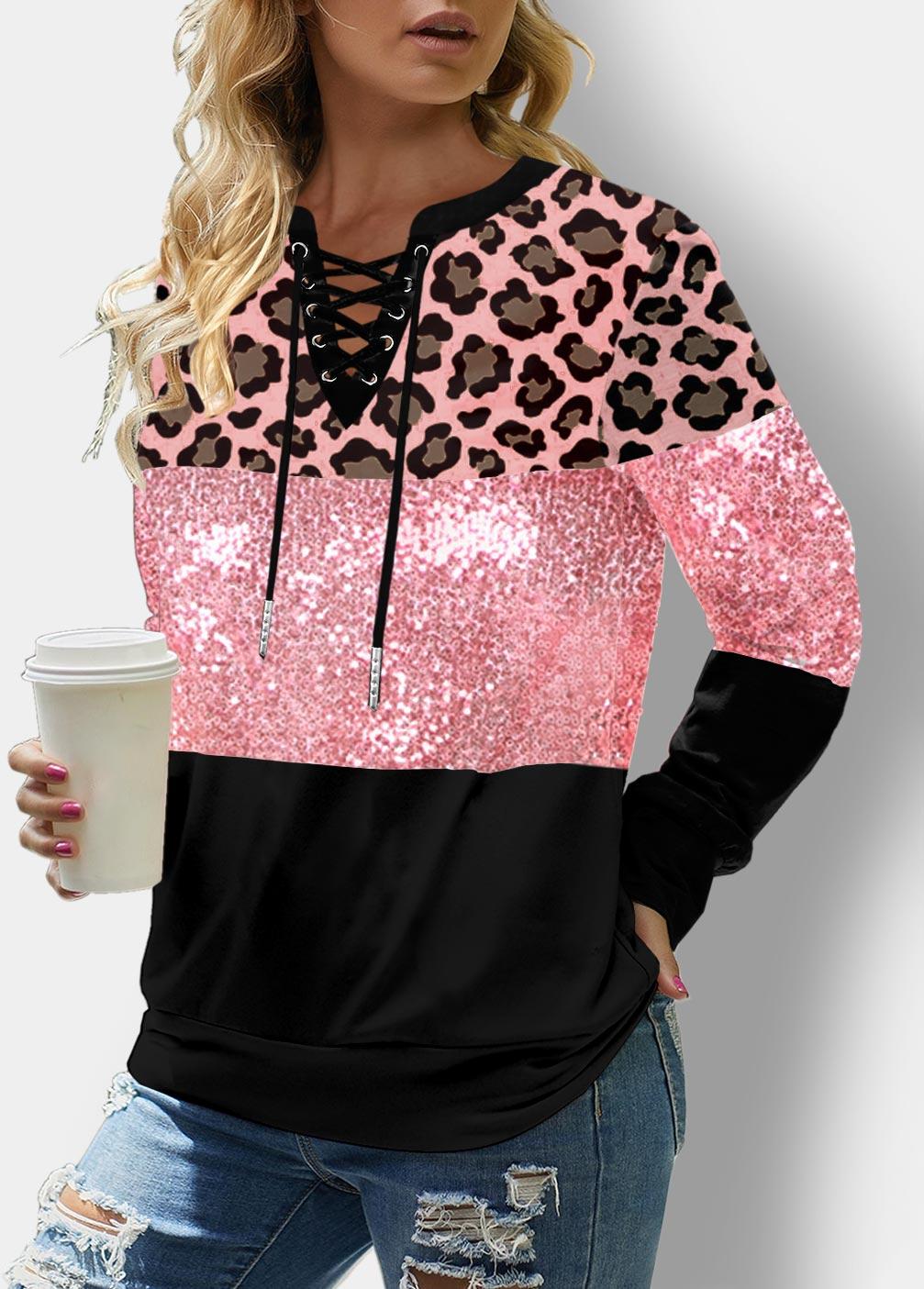 Lace Up Leopard Sequin Panel Sweatshirt