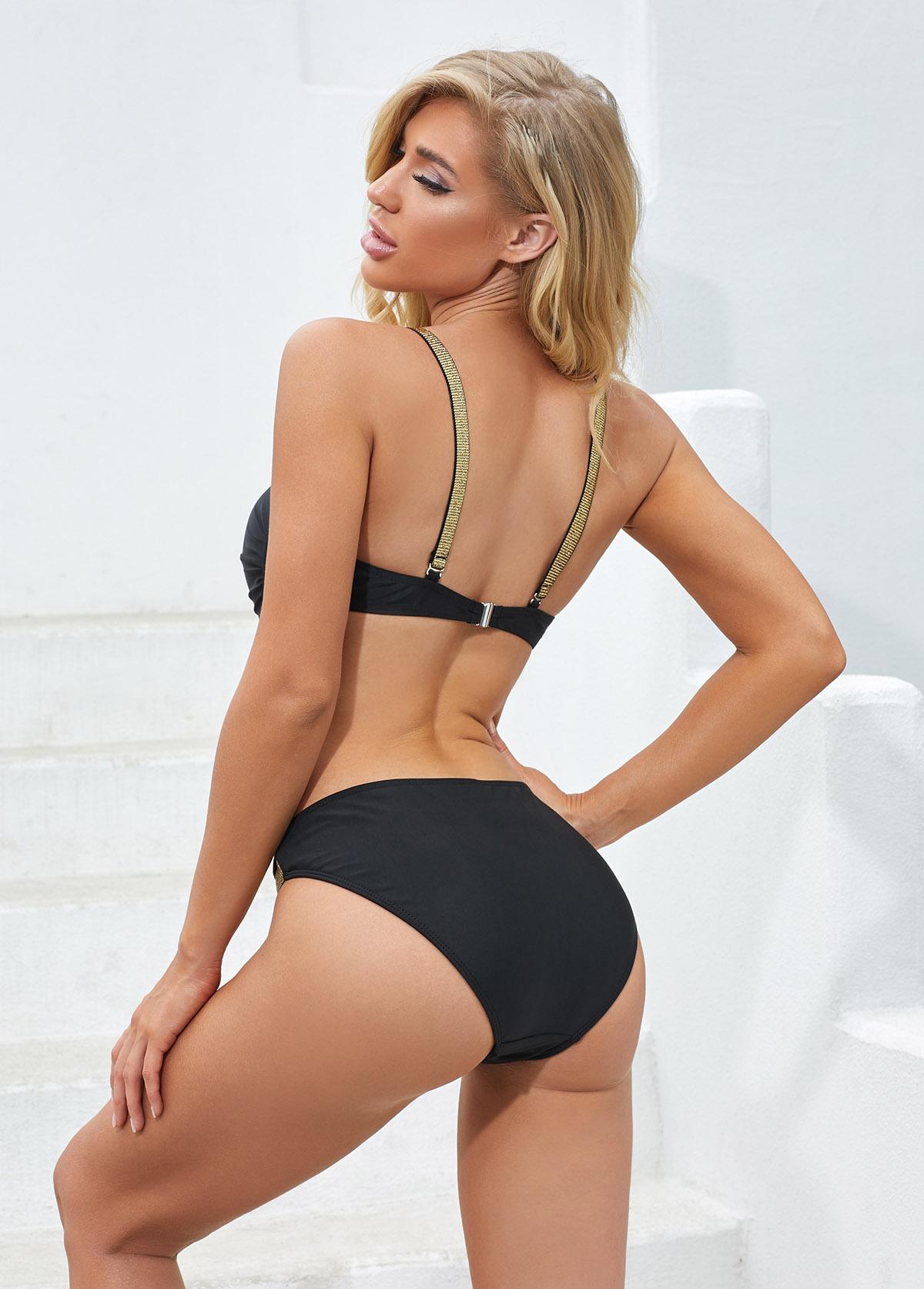 Spaghetti Strap Bright Silk Black Bikini Set