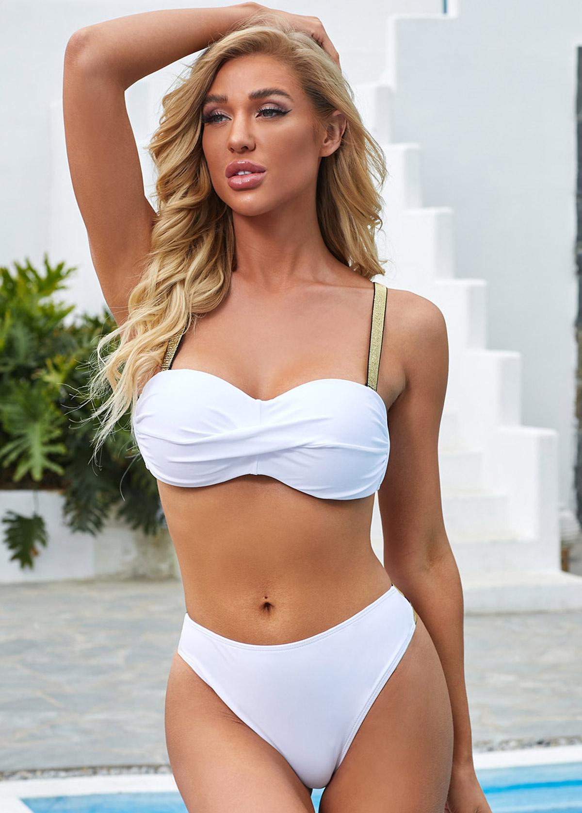 Spaghetti Strap White Bright Silk Bikini Set