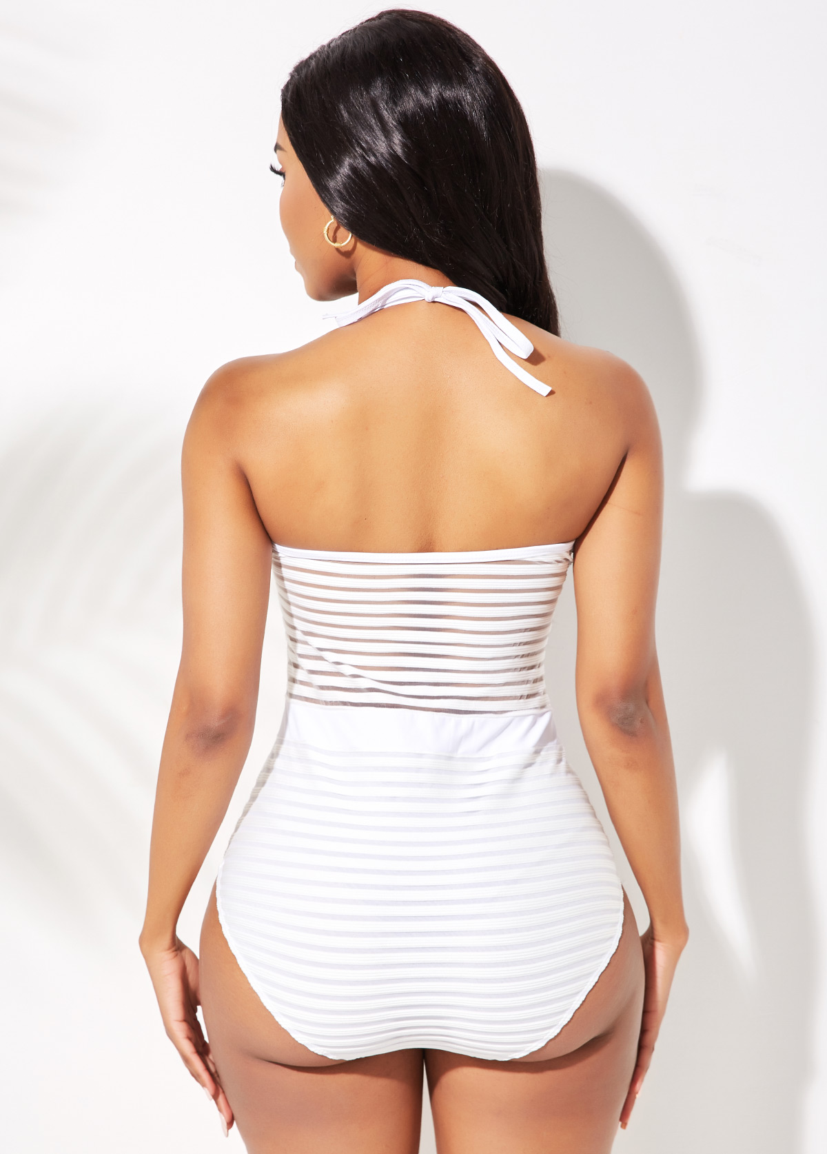 Halter Ladder Cutout White One Piece Swimwear