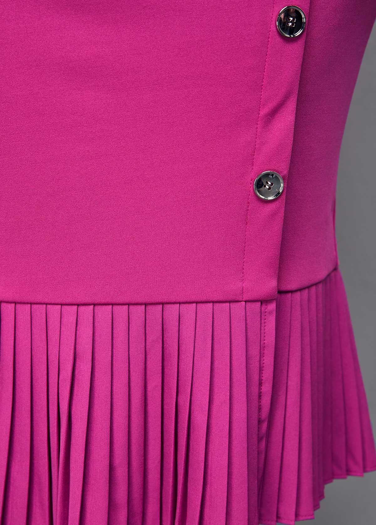 Button Detail Turndown Collar Pleated Hem Dress