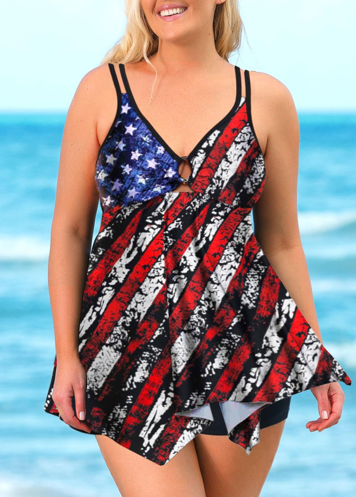 American Flag Print Asymmetric Hem Plus Size Swimdress and Shorts