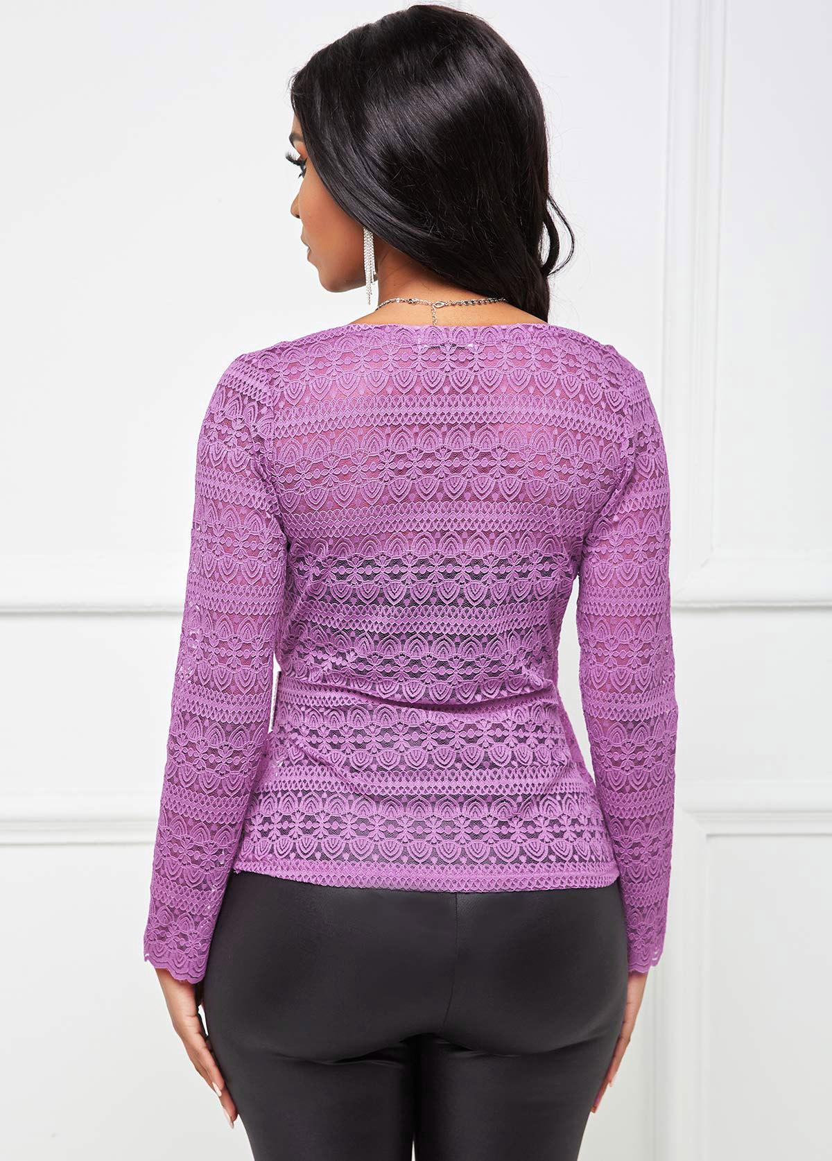 Rhinestone Buckle Lace V Neck T Shirt