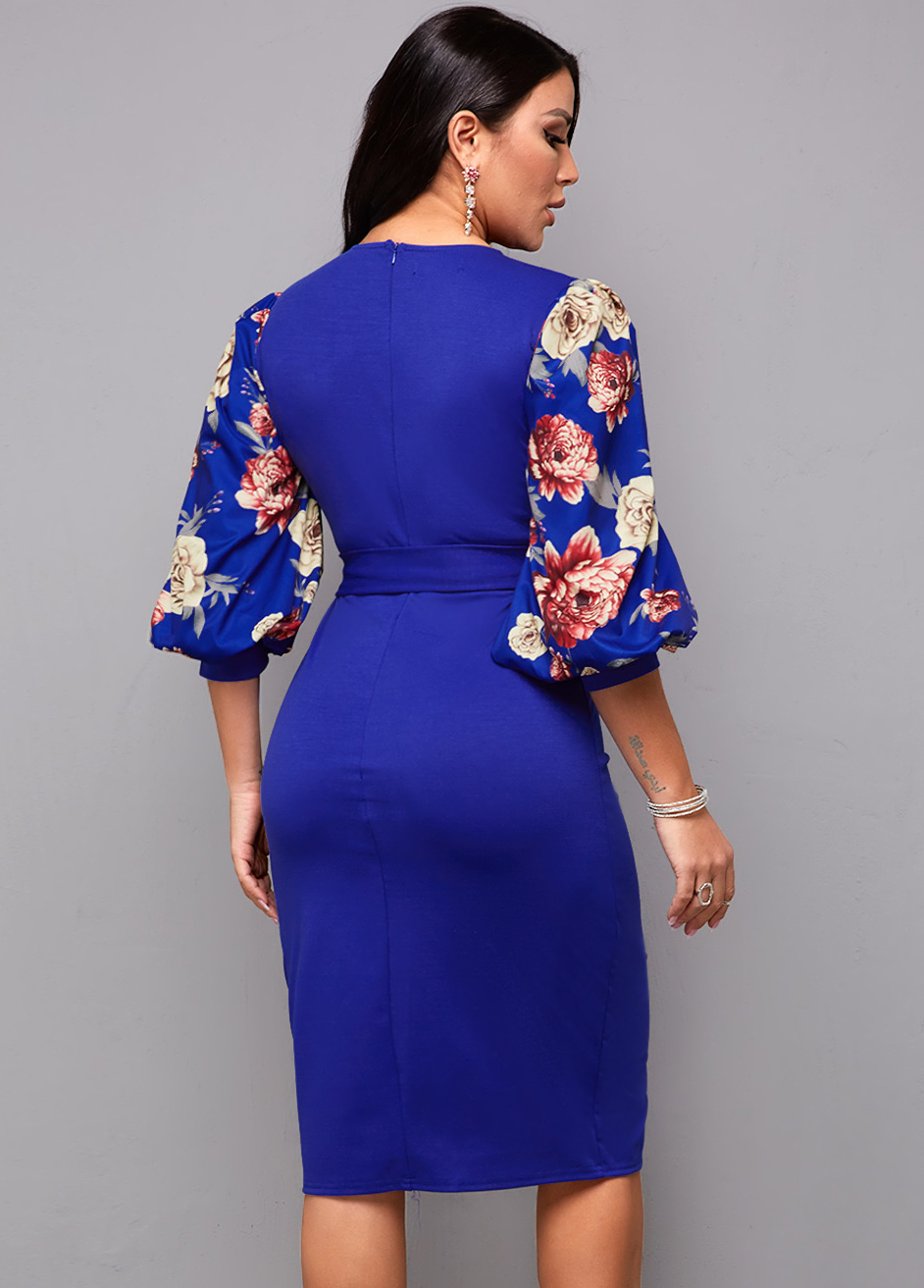 Floral Print Belted Lantern Sleeve Dress