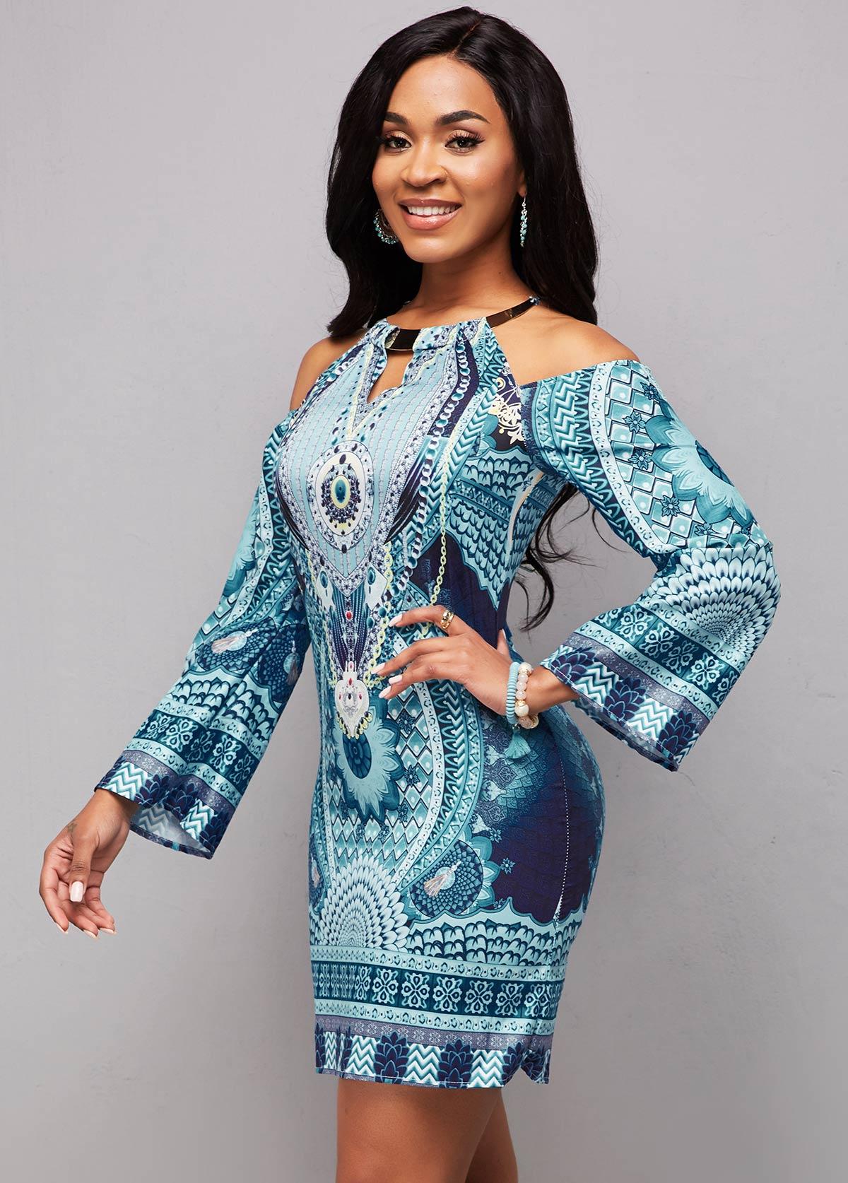 Long Sleeve Bib Neck Tribal Print Bodycon Dress