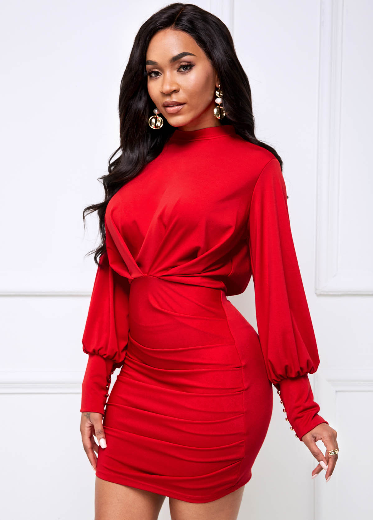 Lantern Sleeve Ruched Cutout Bacck Bodycon Dress