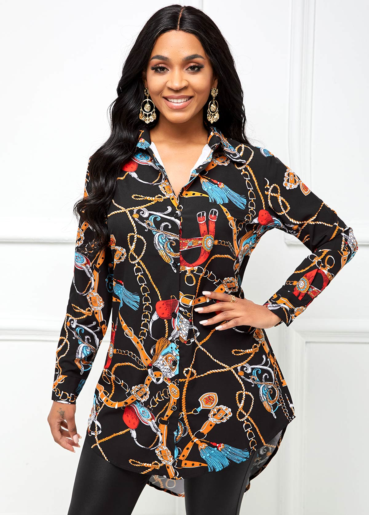 Gold Chain Print Button Up Blouse