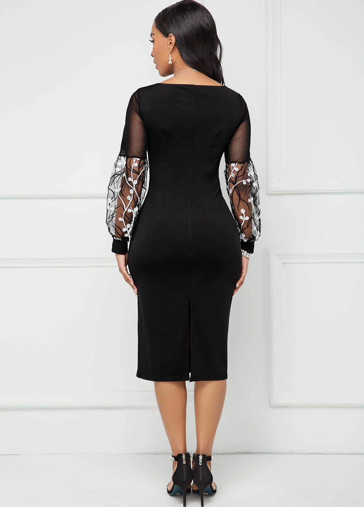 Lace Stitching Embroidered Square Collar Bodycon Dress